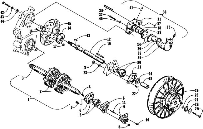 parts diagram for arctic cat 1998 cougar snowmobile drive train shafts and  brake assemblies