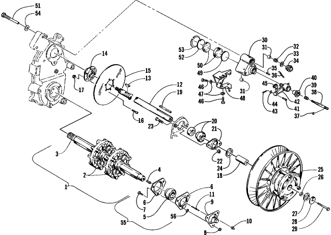 Parts Diagram for Arctic Cat 2000 PANTHER 340 SNOWMOBILE DRIVE TRAIN SHAFTS AND BRAKE ASSEMBLIES