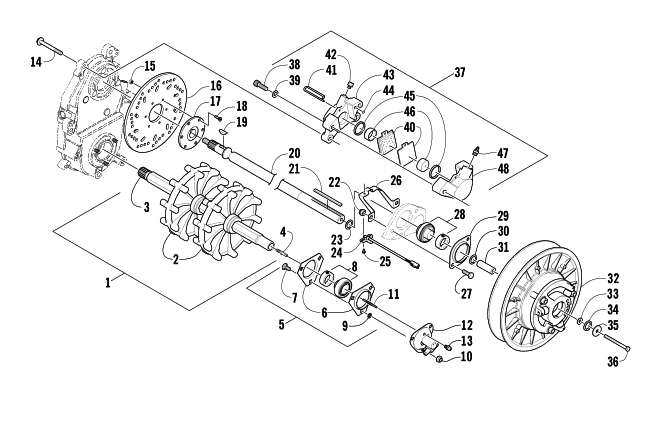 parts diagram for arctic cat 2003 4-stroke trail snowmobile drive train  shafts and brake