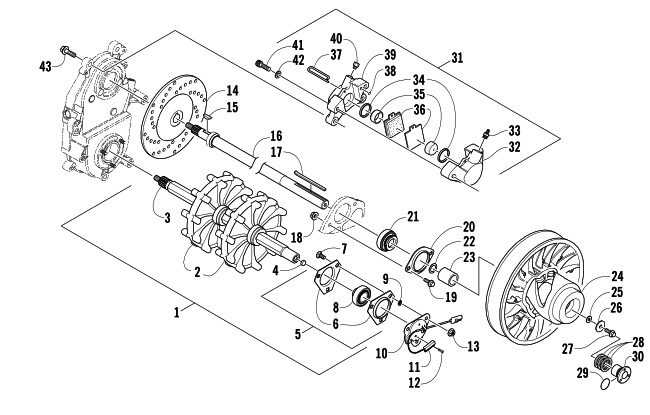 Parts Diagram for Arctic Cat 2007 T660 TURBO TRAIL SNOWMOBILE DRIVE TRAIN SHAFTS AND BRAKE ASSEMBLIES