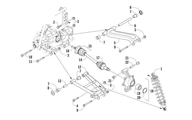 Parts Diagram for Arctic Cat 2011 350 CR ATV REAR SUSPENSION ASSEMBLY