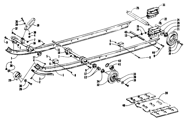 Parts Diagram for Arctic Cat 1993 LYNX MOUNTAIN CAT SNOWMOBILE SLIDE RAIL AND TRACK ASSEMBLY